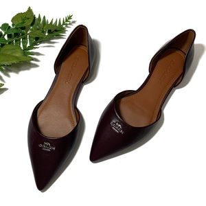 Coach Pointed Toe Leather d' Orsay Flat